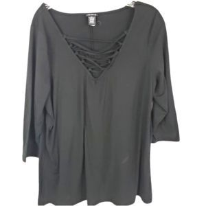 Torrid Black Top with V Neck Lace Detail